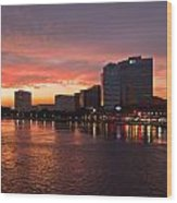 Jacksonville Skyline Night Wood Print