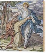 Jacobs Struggle, 19th Cent Wood Print