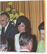 Jacqueline And Robert Kennedy Host Wood Print