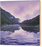 Jacques-cartier River And Mist At Dawn Wood Print