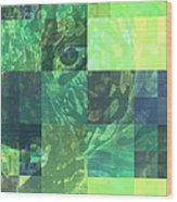 Jaguar Graph Geo Green Wood Print