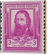 James Russell Lowell Postage Stamp Wood Print