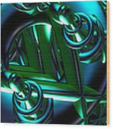 Jammer Blue Green Flux 001 Wood Print
