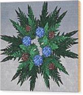 Jammer Blue Red Snow Wreath Wood Print