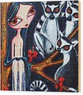 Jane And The Lemurs Wood Print