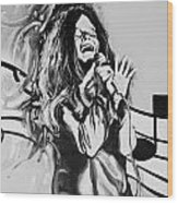 Janis In Black And White Wood Print