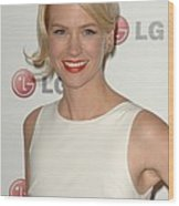 January Jones At Arrivals For A Night Wood Print by Everett