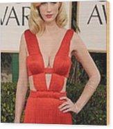 January Jones Wearing A Versace Dress Wood Print by Everett