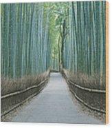 Japan Kyoto Arashiyama Sagano Bamboo Wood Print by Rob Tilley