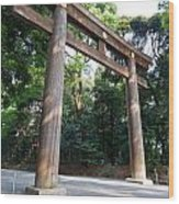 Japanese Entrance Gate On A Sunny Day Wood Print