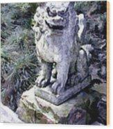 Japanese Garden Lion Dog Statue 1 Wood Print
