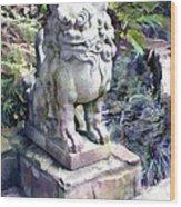 Japanese Garden Lion Dog Statue 2 Wood Print