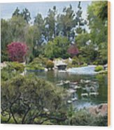 Japanese Garden Panorama 1 Wood Print