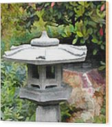 Japanese Garden Stone Snow Lantern Wood Print