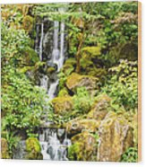 Japanese Garden Waterfall Wood Print