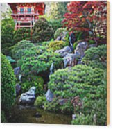 Japanese Garden With Pagoda And Pond Wood Print