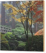 Japanese Gardens Fall Wood Print