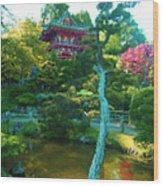 Japanese Tea Garden Temple Wood Print