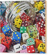 Jar Spilling Dice Wood Print by Garry Gay