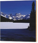 Jasper - Maligne Lake In Winter Wood Print