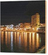 Javea Port At Night Wood Print
