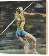 Javelin Thrower Wood Print by Paul Mitchell