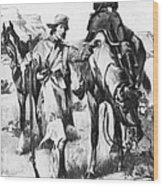 J.c. Fremont And His Guide, Kit Carson Wood Print