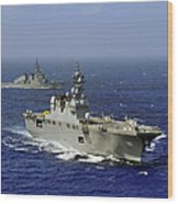 Jds Hyuga Sails In Formation With U.s Wood Print