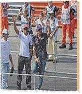Jean-eric Vergne Lewis Hamilton And Nico Rosberg Wood Print