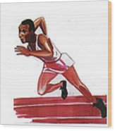 Jesse Owens Wood Print