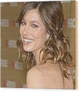 Jessica Biel At Arrivals For All-star Wood Print by Everett