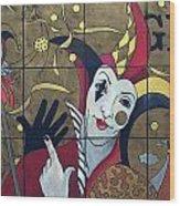 Jester In Red Wood Print by Susanne Clark