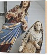 Jesus Christ And Saint Statues In Church Wood Print