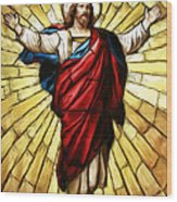 Jesus Christ Stained Glass Wood Print