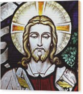 Jesus Close Up Stained Glass Wood Print