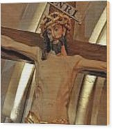 Jesus On Cross Wood Print