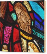 Jesus On Glass Wood Print
