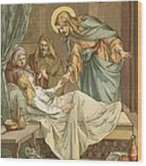 Jesus Raising Jairus's Daughter Wood Print