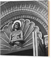 Jesus  Sculpture Above Cathedral Door Lintel Wood Print