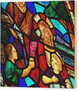 Jesus Stained Glass Wood Print
