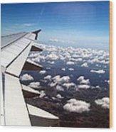 Jet Blue Takeoff Wood Print