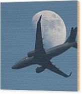 Jet In Front Of Moon Wood Print