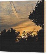 Jet Trail Sunset Wood Print