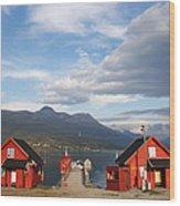 Jetty In A Norwegian Fjord Wood Print