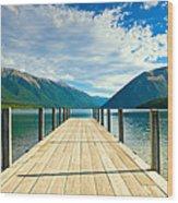 Jetty Of A Beautiful Lake  Wood Print