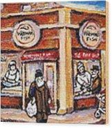 Jewish Montreal Vintage City Scenes Fish Market On Roy Street Wood Print