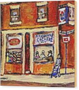 Jewish Montreal Vintage City Scenes Hutchison Street Butcher Shop  Wood Print