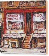 Jewish Montreal Vintage City Scenes Indigs Kosher Butcher Wood Print