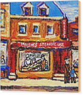 Jewish Montreal Vintage City Scenes Moishes St. Lawrence Street Wood Print