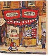 Jewish Montreal Vintage City Scenes Schwartzs Original Hebrew Deli Wood Print